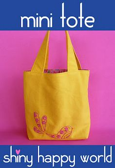 Mini Tote – Free Sewing Pattern PDF | Shiny Happy World....Love this site..so many cute quirky things
