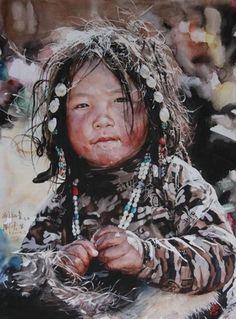 Watercolor portrait painting by Liu Yunsheng Watercolor Portraits, Watercolour Painting, Painting & Drawing, Watercolours, L'art Du Portrait, Zebra Art, Art Asiatique, Guache, We Are The World