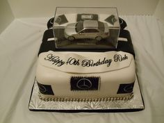 Benz car in a glass cake