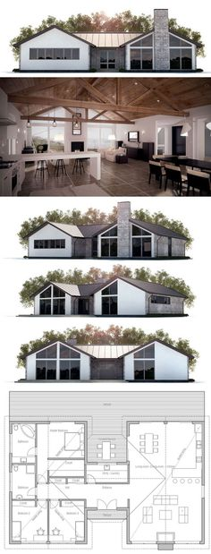 House Plan with three bedrooms, open planning, vaulted ceiling. House Plan with three bedrooms, open planning, vaulted ceiling. Modern House Plans, Small House Plans, House Floor Plans, Open Plan House, Building A Container Home, Container House Plans, Container Homes, Container Cabin, Cargo Container