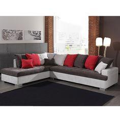 Canapé d'angle gris en tissu MISTRAL