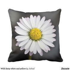 Wild daisy white and yellow throw pillow
