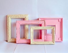 Pink and Antique White Frames