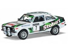 The Corgi 1/43 Ford Escort Mk2 RS1800, 'Eddie Stobart' Jimmy McRae and Andy Richardson, Winners, Roger Albert Clark Rally 200 is a superbly detailed diecast model car in the Vangaurds collection.