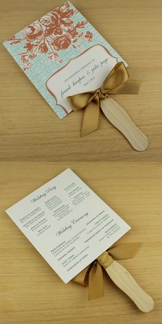 Paddle Fan Wedding Program Template for outdoor summer ceremonies perfect for those outdoor ceremonies put on at the Marbury Center!