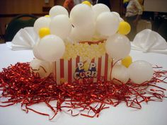 Get a popcorn box or bag and fill it with balloons for a decoration or centerpiece. Circus Carnival Party, Carnival Themes, Circus Theme, Party Themes, Party Ideas, Carnival Food, School Carnival, Circus Circus, Theme Parties