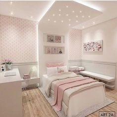 61 Ideas Bedroom Ideas For Small Rooms For Teens For Girls Pink Room Design Bedroom, Girl Bedroom Designs, Room Ideas Bedroom, Home Room Design, Small Room Bedroom, Small Rooms, Girls Bedroom, Bedroom Decor, Bed Designs