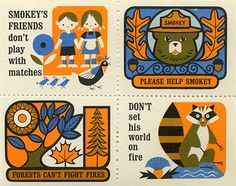 Vintage fire safety stamps