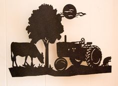 Tractor farm scene wall hanging metal art Tractor Silhouette, Silhouette Art, Animal Templates, Farm Logo, Farm Art, Scrapbook Sketches, Wood Engraving, Painted Signs, Metal Wall Art