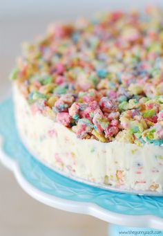 Fruity Pebble Ice Cream Cake with only FOUR ingredients! This recipe is perfect for Easter celebrations.