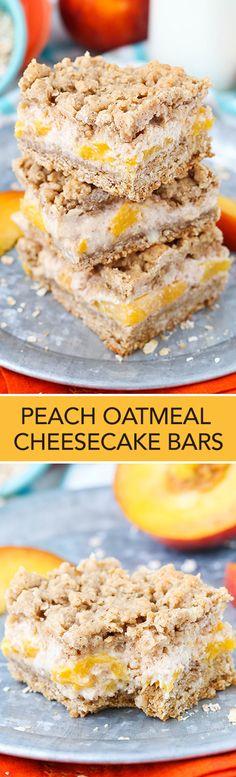 Peach Cinnamon Oatmeal Cheesecake Bars