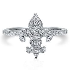 This fleur de lis ring is made of rhodium plated fine 925 sterling silver. Set with 0.275 carat round cut clear cubic zirconia (1mm) in micro pave setting. Band measures 1.5mm in width.