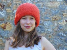 Wool hat Handmade hat Knitting hat Orange hat Gift by beyazdukkan, $26.00