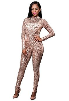 02414ce98ff2 Memorose Womens Sexy Sequin Turtleneck Long Sleeve Bodycon Party Clubwear Jumpsuit  Romper