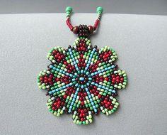 Items similar to Seed Beaded Mandala Necklace, Beadwork Jewelry. Red and Green Mandala Necklace. on Etsy Beaded Jewelry Designs, Seed Bead Jewelry, Seed Bead Earrings, Beaded Earrings, Jewelry Art, Seed Beads, Beading Tutorials, Beading Patterns, Native Beadwork