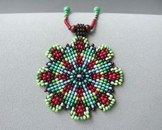 Seed Beaded Mandala Necklace Beadwork Jewelry. by HANWImedicineArt Mais