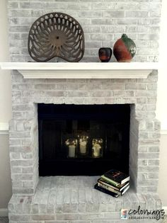 How to whitewash bricks using annie sloan chalk paint in old white brick fireplace update by leslie stocker painting fireplacereface brick fireplacefireplace updatefireplace makeoversdiy solutioingenieria Image collections