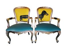 Sausage Dogs Chair by Jimmie Martin - make me smile!  Buy a couple of cheap dilapidated chairs and reupholster them…you might be able to sell them for £2900.00.