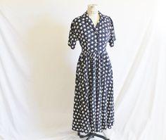 Vintage 80s does 50s Navy Rayon Star Dress by perniejaynevintage, $58.00