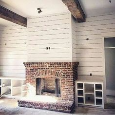 Image result for shiplap fireplace with red brick