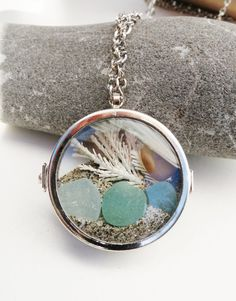 Sea Glass Beach Glass Locket Necklace Glass by GlassBeachSeaGlass, $34.50