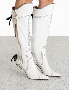 Canvas and Leather Knee Boot Ivory Online | Zimmermann Knee High Boots, Over The Knee Boots, Wedding Boots, Designer Boots, Boots Online, Designing Women, Lace Up, Skinny, Ivory