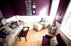 Purple small living room: gorgeous purple living room, accents of cream, . Cream Living Rooms, Cute Living Room, Living Room Accents, Small Living, Living Spaces, Style At Home, Black Accent Walls, Black Accents, Color Accents