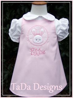 Pink Gingham Easter Dress with Bunny Applique by TaDaDesignsInc, $38.00