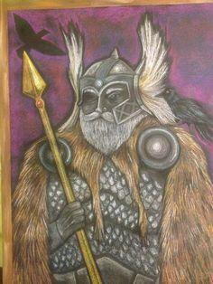 Odin blackboard - Noelle Mckown Blackboard Drawing, Chalkboard Drawings, Chalk Drawings, Roman Mythology, Norse Mythology, Form Drawing, Painting & Drawing, Mythological Creatures, Mythical Creatures