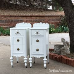 Painted Antique Nightstands - You Order. We Find, Restore, Adorn and Paint. Hand Painted Furniture, Wood Furniture, Antique Furniture, Furniture Design, Antique Couch, Victorian Furniture, Furniture Online, White Furniture, Repurposed Furniture