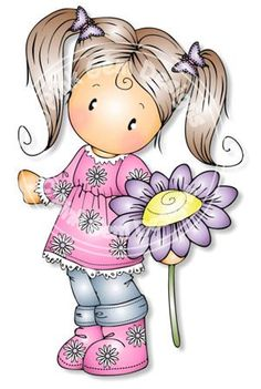 Digital (Digi) Chloe with Daisy Stamp - Birthday, Mothers Day, Spring, Easter