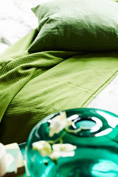 VIGDIS Kissenbezug in Grün, eine grüne Tagesdecke und eine Topfpflanze