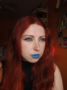 Edgy graphic liner with blue lips!