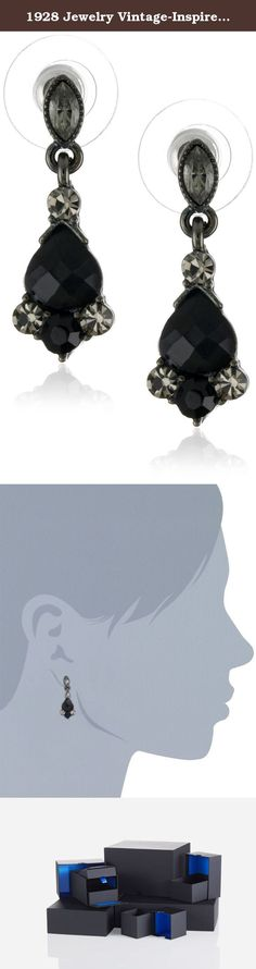 """1928 Jewelry Vintage-Inspired Black Crystal Drop Earrings. With its vintage look these hematite tone drop earrings are ideal for dressing up but they will even work with the most causal of outfits. A marquee shaped simulated Black crystal is used to start the earrings on their posts. Below are faceted jet color teardrops in a hematite tone setting and embellished with simulated black- Pattern crystals above and below giving the appearance of the real thing. 1.1""""L x 0.3""""W."""