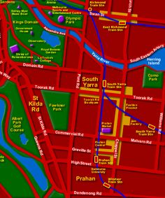Melbourne Australia Map - showing City Attractions
