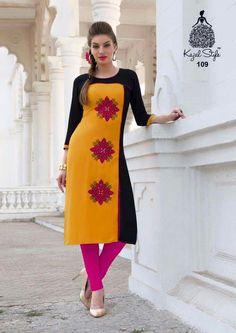 Golden Yellow and Black Rayon Kurti Embroidery Designs, Embroidery Boutique, Embroidery Blanks, Border Embroidery, Vintage Embroidery, Machine Embroidery, Salwar Designs, Blouse Designs, Kurti Styles