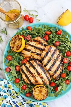 Herby Lemon Grilled Chicken Breast Salad #grilledchicken #salad #recipe