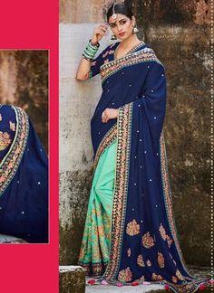 Navy Blue Pure Tussar Silk Pallu With Silk Sarees Shop ,Indian Dresses - 1