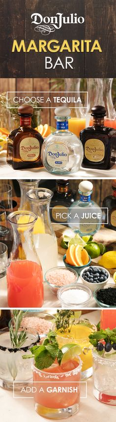 Shake up your Cinco De Mayo celebration with a Don Julio Margarita Bar. First, get a bottle of each Don Julio variant: Blanco, Añejo, and Reposado. Then, choose your mixers: grapefruit juice, coconut water, or orange juice. Next, choose your salt rim and garnish with lime wedges, mint, thyme, rosemary, or blueberries. Your friends will love this DIY bar and the ability to create their own cocktails.