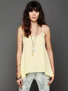 Free People Lace Inset Swing Cami at Free People Clothing Boutique