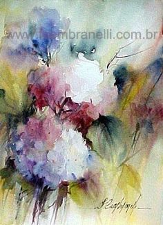 Fábio Cembranelli - A Painter's Diary: December 2008 The Sketchbook, Watercolor Sketchbook, Abstract Watercolor, Watercolor Paintings, Watercolours, Abstract Flowers, Watercolor Flowers, Oil Painting Basics, Hydrangea Painting