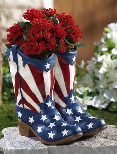 Red, white and blue boots