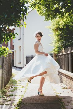 Bride in Lou Lou dress and Irregular Choice shoes