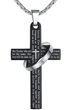 """Stainless Steel Lord's Prayer Cross Halo Pendant Necklace, Black Color, Unisex, 23"""" Chain, ddp010he   shopswell"""
