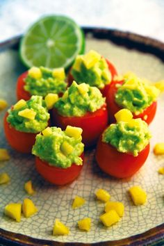 Eating for Beauty | Guacamole Stuffed Tomato Poppers |Recipe Via The Nutrition Twins' Veggie Cure Book @cravelocal