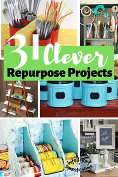 31 Clever Ideas to Repurpose common household items. Create storage and decor by repurposing things you have around the house. Recycled Paper Crafts, Upcycled Crafts, Recycled Fabric, Handmade Crafts, Recycled Decor, Repurposed Items, Repurposed Furniture, Easy Plastic Bottle Crafts, Reuse Containers