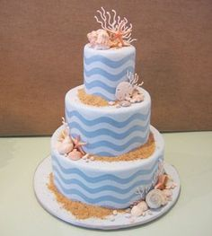 Beach-themed wedding cake with blue waves all over - love the shells and the sand #wedding #weddingcake #summer #beach #cake