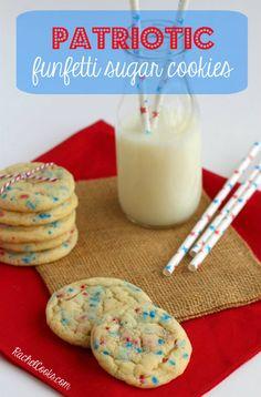 Patriotic Funfetti Cookies | RachelCooks.com