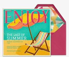 Invite your friends to kick back on the beach and enjoy the last of summer with premium Evite invitations.