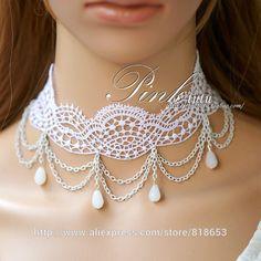 Gothic Vintage Lolita Lace Ribbon White Faux Pearl Dangle Choker ...